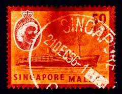 Singapore Stamp Collection, 50c QEII Steamer Ship Orange - Pop Art Color Photo