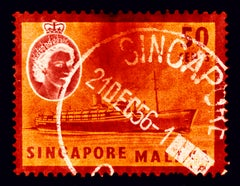 Singapore Stamp Collection, 50c QEII Steamer Ship Orange - Pop Art Color Photo