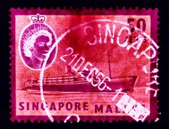 Singapore Stamp Collection, 50c QEII Steamer Ship Pink - Pop Art Color Photo