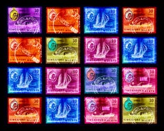 Singapore Stamp Collection, Singapore Ship Sequence (4x4) - Pop art color photo