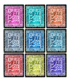 Stamp Collection, 1864 Hamburg (Multi-Color Mosaic German Stamps)