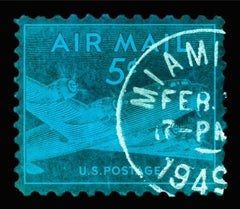 Stamp Collection, 1949 Miami Skymaster - Blue Conceptual Color Photography
