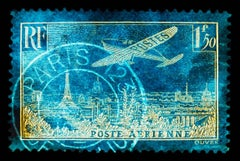 Stamp Collection, A Work of Art Paris - Blue Conceptual Color Photography