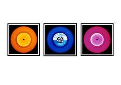 Vinyl Collection - Orange, Blue, Pink Triptych - Pop Art Color Photography