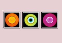 Vinyl Collection - Orange, Green, Pink Triptych - Pop Art Color Photography
