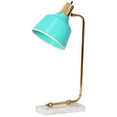 Heifetz Rotaflex Marble and Brass Desk Lamp with Aqua Rotaflex Shade, 1950s