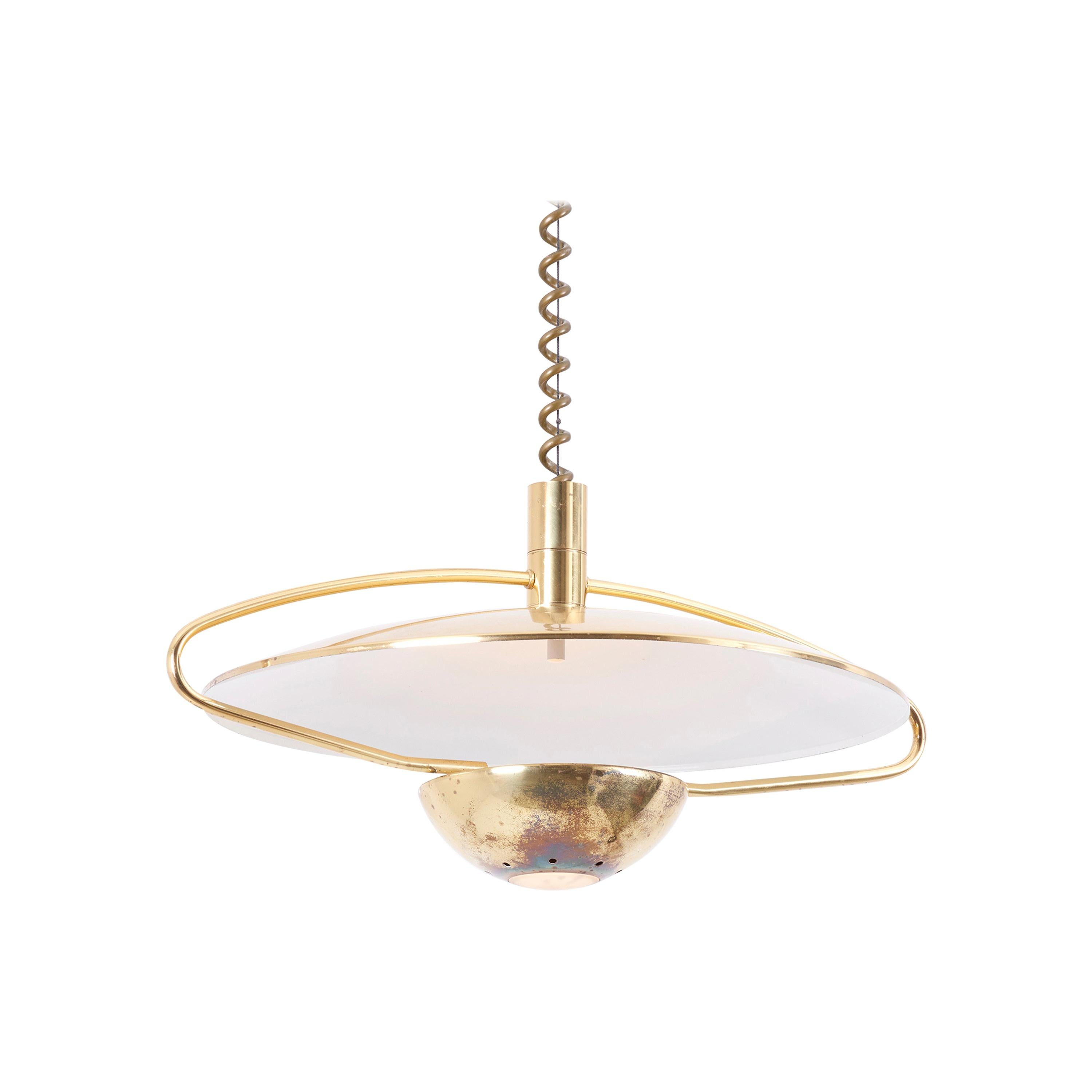Height Adjustable Pendant Lamp in Brass, Germany, 1970s
