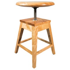 Height Adjustable Piano Stool with Turned Seat and Splayed Legs