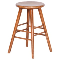 Height Brown Beech Midcentury Round Stool, Original Preserved Condition, 1940s