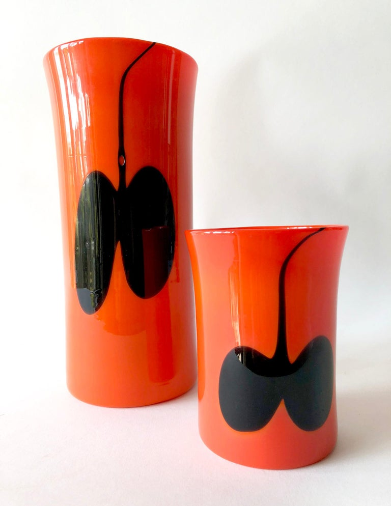 A matching pair of glass vases by Heikki Orvola for Nuutajarvi Notsjo, Finland. Vases measure 10 1/8
