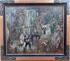 German Weimar Republic Expressionist Art Deco Danse Macabre painting wild party
