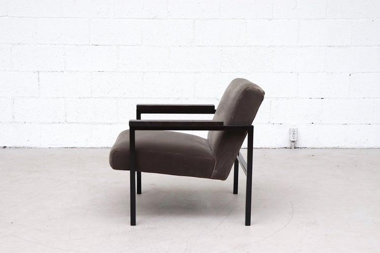 Mid-Century Modern Hein Stolle Attributed Velvet Lounge Chair