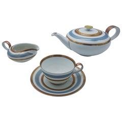 Heinrich Bavaria Porcelain Tea-Set, 14-Piece Gold Rimmed Bone China Set