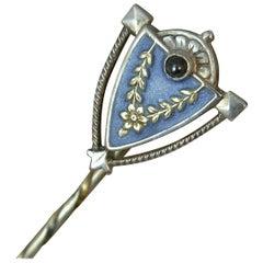 Heinrich Levinger Art Nouveau German Silver Enamel Stick Pin