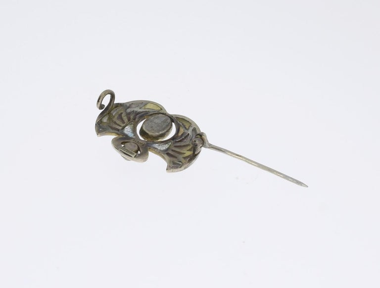 Heinrich Levinger Art Nouveau Plique-a-Jour Silver Brooch For Sale 1