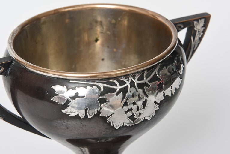 Heintz Arts & Crafts Sterling Overlay on Bronze Mixed Metals Trophy Loving Cup For Sale 1