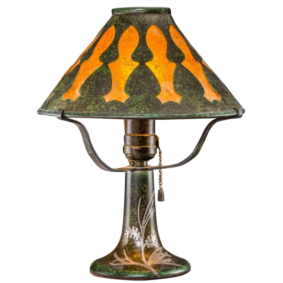 Charmant Heintz Bronze Silver Overlay And Mica Arts U0026amp; Crafts Table Lamp