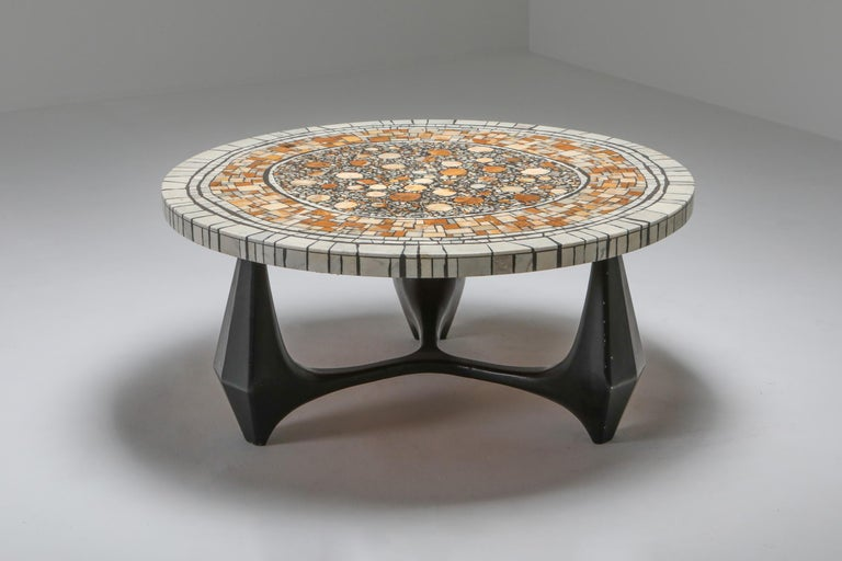 Brutalist coffee table model Chartre, Heinz Lilienthal werkstatten, 1973 Germany  Stunning coffee table from the same era and style of Roger Capron and Pia Manu. Black aluminium frame, marble stone mosaic table top Great use of colors throughout