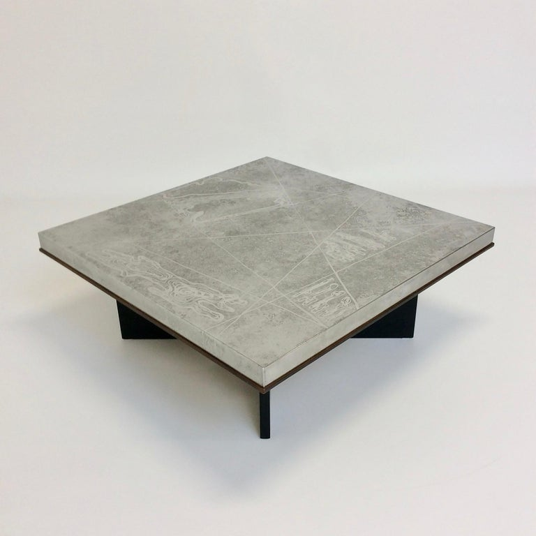 Heinz Lilienthal Etched Metal Coffee Table, circa 1970, Germany For Sale 5