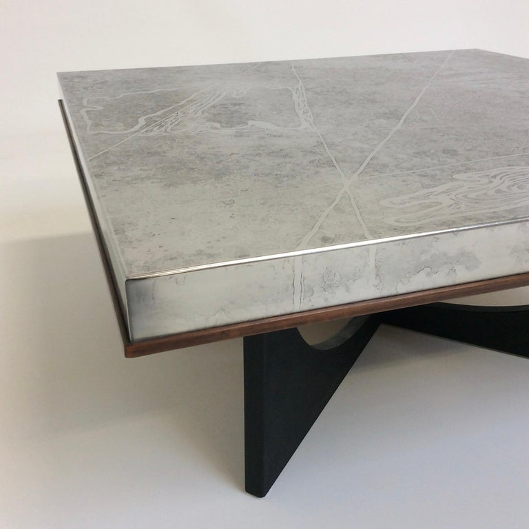 Heinz Lilienthal Etched Metal Coffee Table, circa 1970, Germany For Sale 8