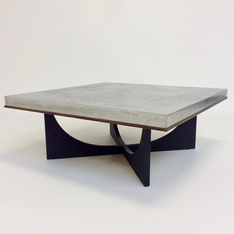 Nice coffee table by Heinz Lilienthal, circa 1970, Germany. Etched metal, wood frame, black painted wood base. Dimensions: 111 cm W, 111 cm D, 45 cm H. Good original condition. All purchases are covered by our Buyer Protection Guarantee. This item