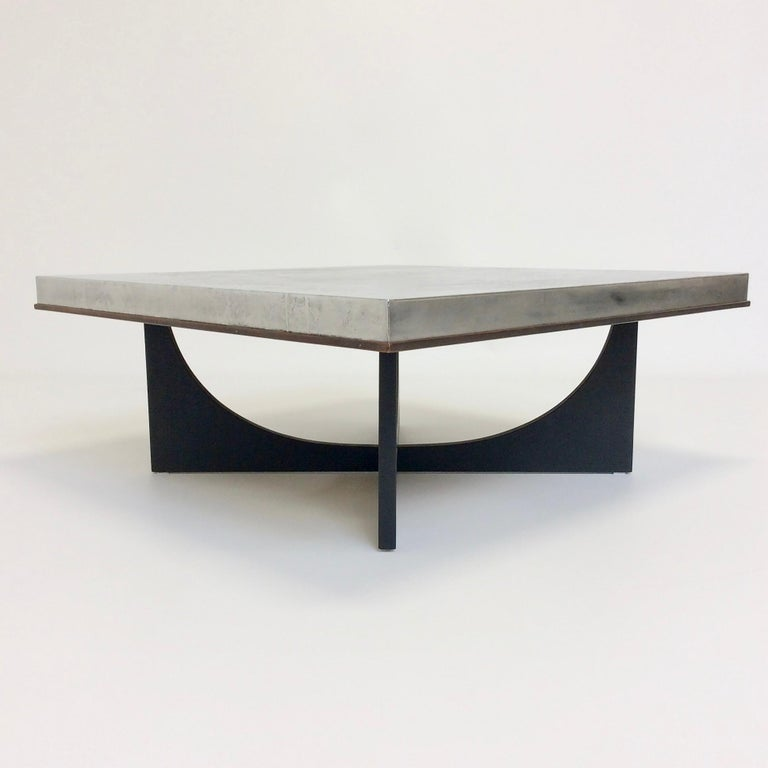 Mid-Century Modern Heinz Lilienthal Etched Metal Coffee Table, circa 1970, Germany For Sale