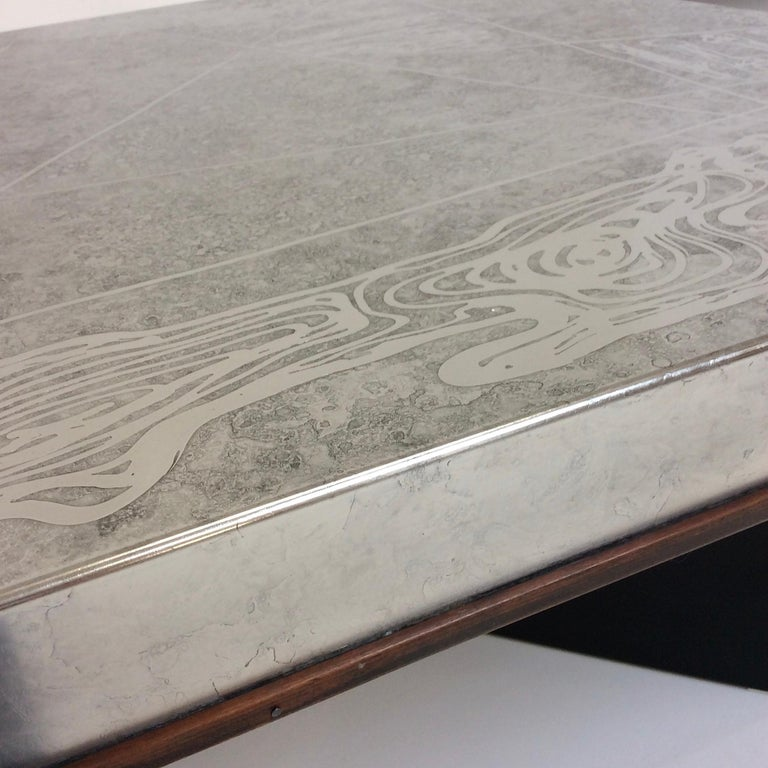 Heinz Lilienthal Etched Metal Coffee Table, circa 1970, Germany In Good Condition For Sale In Brussels, BE