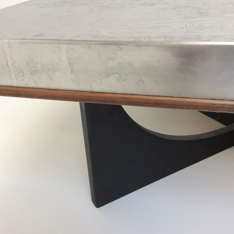 Late 20th Century Heinz Lilienthal Etched Metal Coffee Table, circa 1970, Germany For Sale