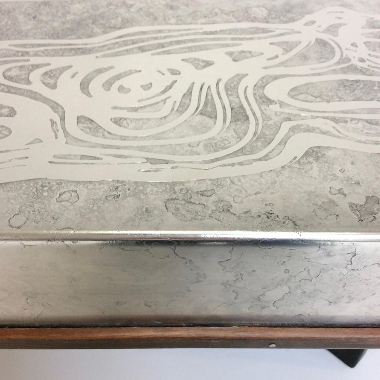 Heinz Lilienthal Etched Metal Coffee Table, circa 1970, Germany For Sale 2