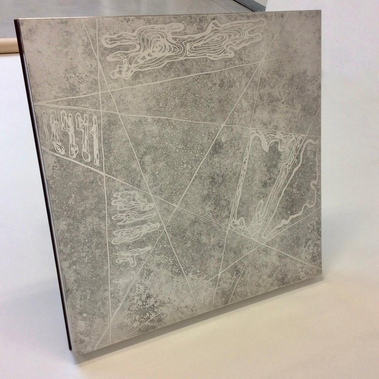 Heinz Lilienthal Etched Metal Coffee Table, circa 1970, Germany For Sale 3