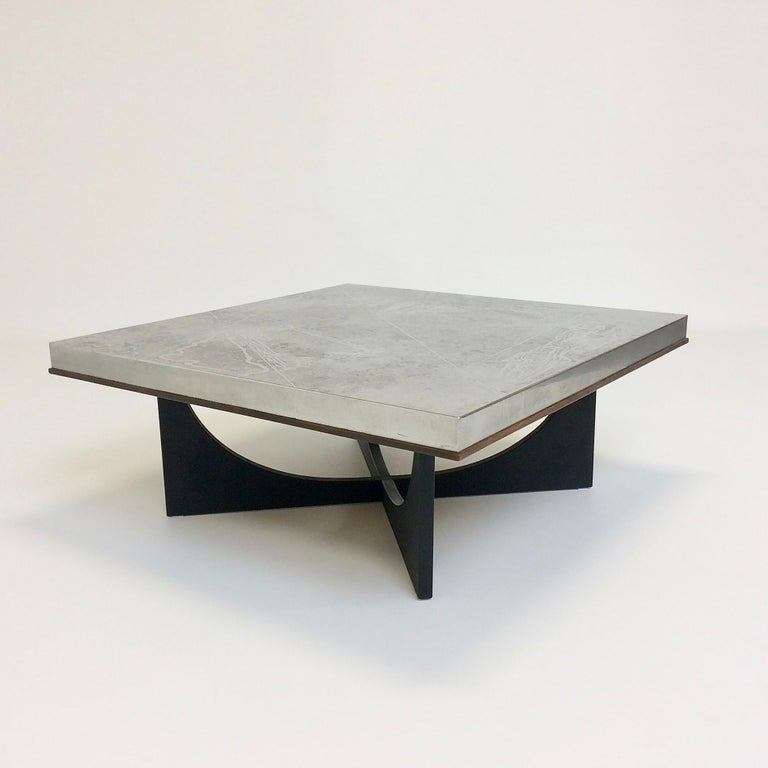 Heinz Lilienthal Etched Metal Coffee Table, circa 1970, Germany For Sale 4