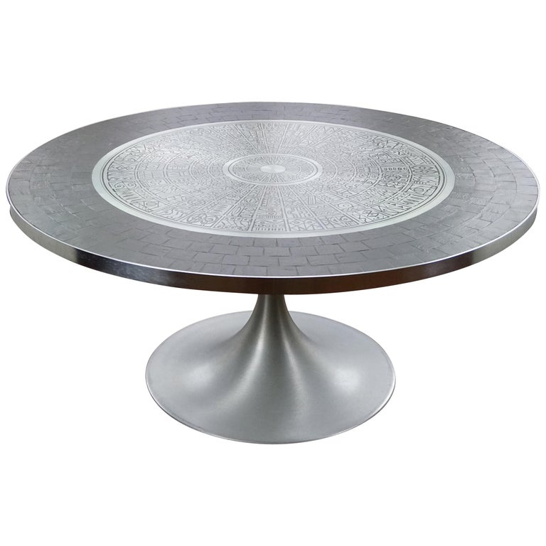 Heinz Lilienthal Tulip Table, Coffee Table with Slate and Etched Steel Tabletop For Sale