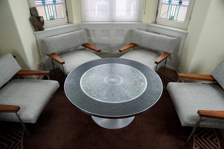 Heinz Lilienthal Tulip Table, Coffee Table with Slate and Etched Steel Tabletop For Sale 3
