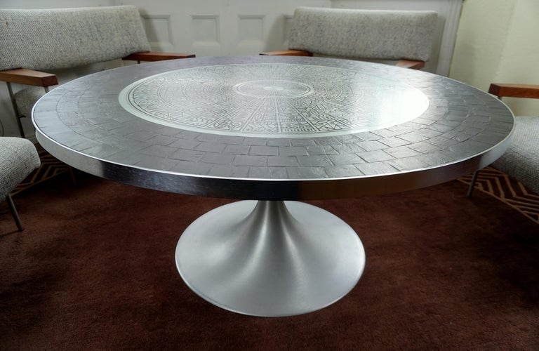 Heinz Lilienthal Tulip Table, Coffee Table with Slate and Etched Steel Tabletop For Sale 4