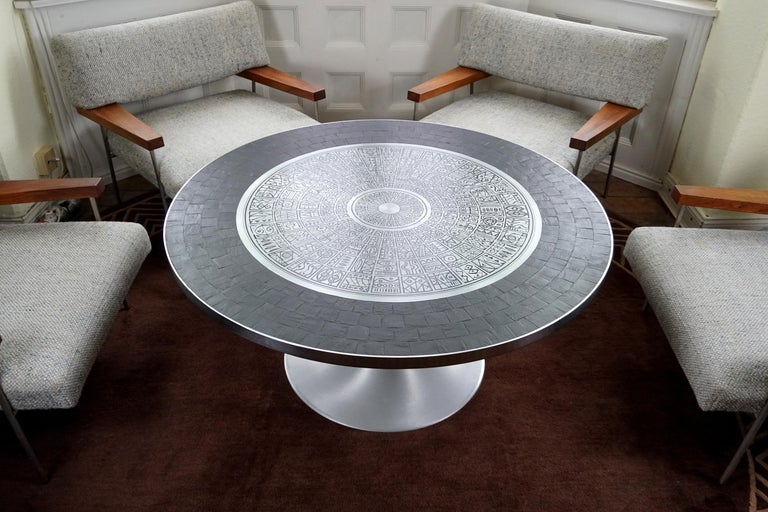 Heinz Lilienthal Tulip Table, Coffee Table with Slate and Etched Steel Tabletop For Sale 5