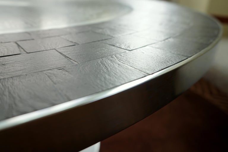 Heinz Lilienthal Tulip Table, Coffee Table with Slate and Etched Steel Tabletop For Sale 6