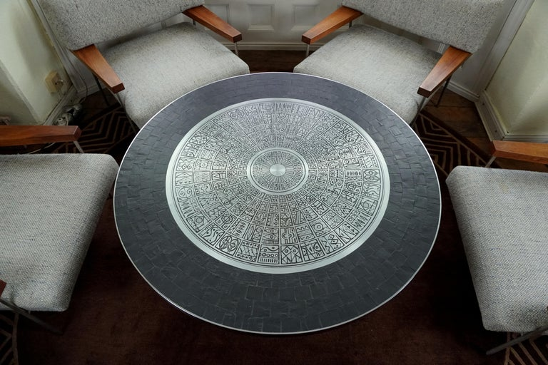 Heinz Lilienthal Tulip Table, Coffee Table with Slate and Etched Steel Tabletop For Sale 7