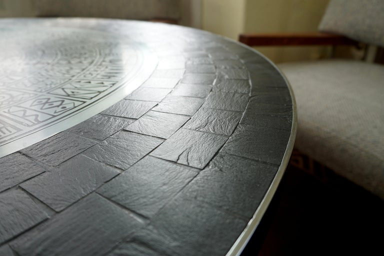 Heinz Lilienthal Tulip Table, Coffee Table with Slate and Etched Steel Tabletop For Sale 8