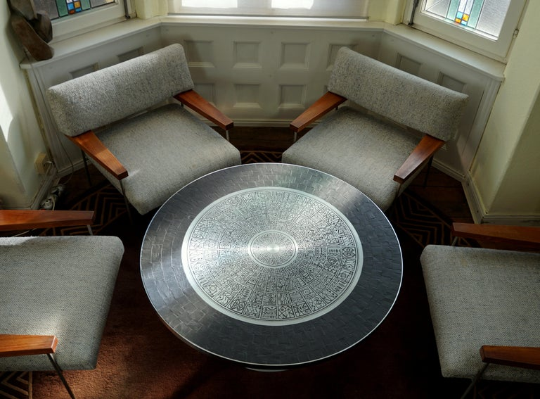 Heinz Lilienthal Tulip Table, Coffee Table with Slate and Etched Steel Tabletop For Sale 13