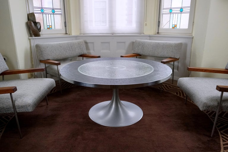 Stainless Steel Heinz Lilienthal Tulip Table, Coffee Table with Slate and Etched Steel Tabletop For Sale