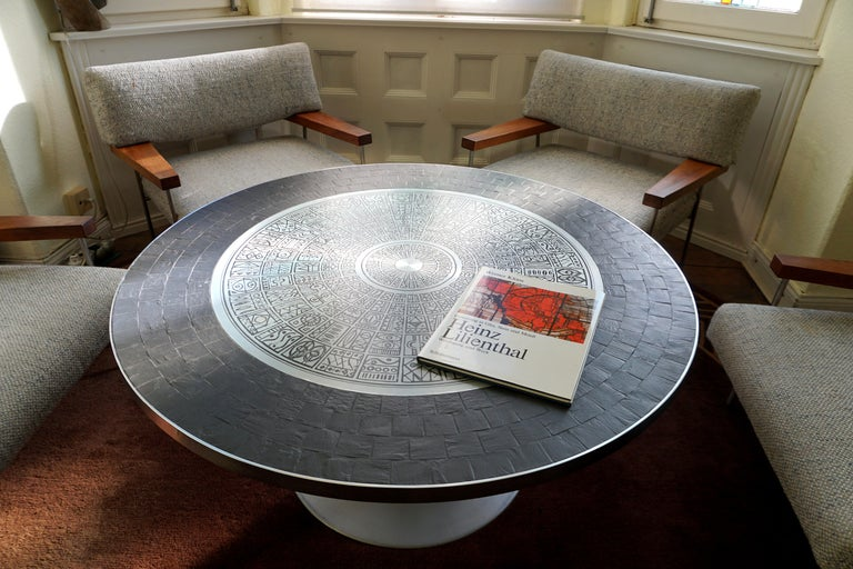 Heinz Lilienthal Tulip Table, Coffee Table with Slate and Etched Steel Tabletop For Sale 1