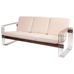 Heinz Meier for Landes Chrome Walnut and Upholstered Sofa