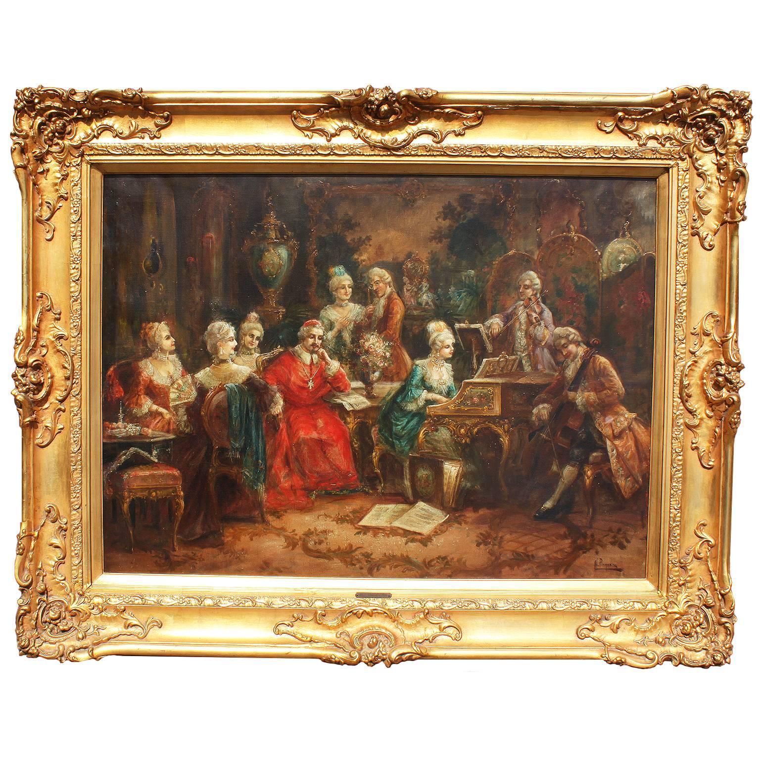 "Heinz Pinggera, ""Music Recital for the Cardinal"" Oil on Canvas"
