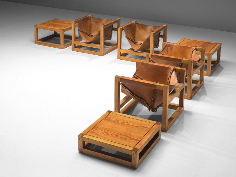 Heinz Witthoeft for Witthoeft Stuttgart, armchairs model Tail 4, leather, pine, Germany, 1959   The cubist lounge chairs by Heinz Witthoeft are part of a larger architectural vision by designer Heinz Witthoeft. The idea Witthoeft had in mind was