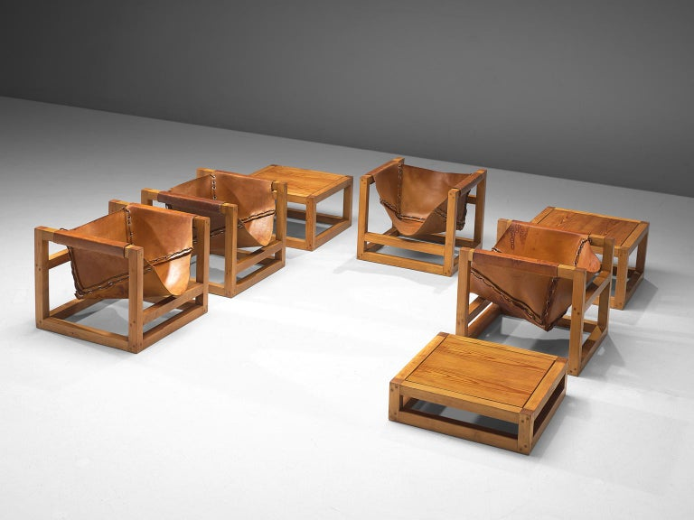 Mid-Century Modern Heinz Witthoeft Leather and Pine 'Architail' Living Room Set For Sale