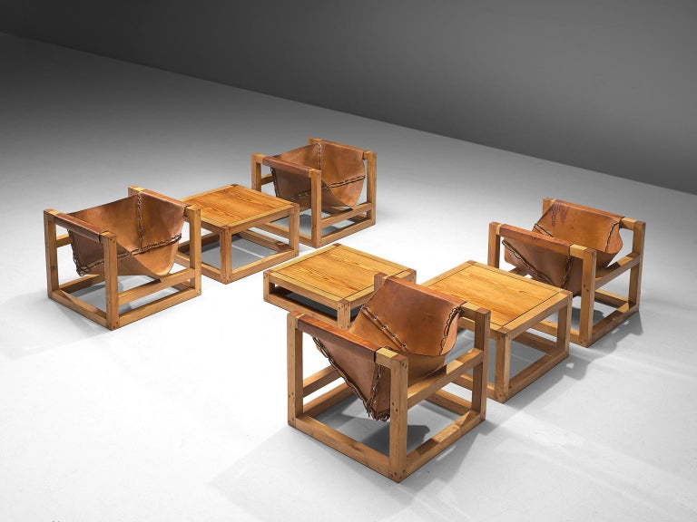 German Heinz Witthoeft Leather and Pine 'Architail' Living Room Set For Sale