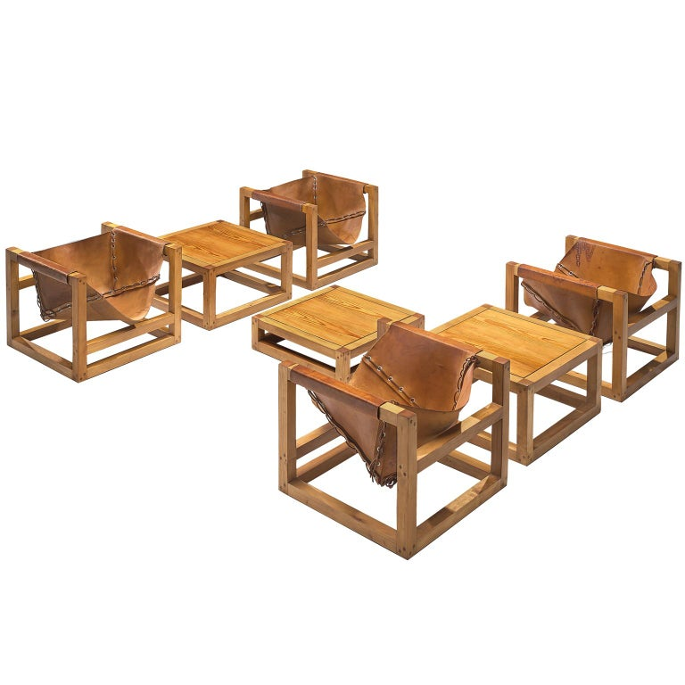 Heinz Witthoeft Leather and Pine 'Architail' Living Room Set For Sale