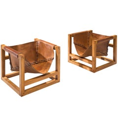Heinz Witthoeft Leather and Pine 'Architail' Set of Lounge Chairs