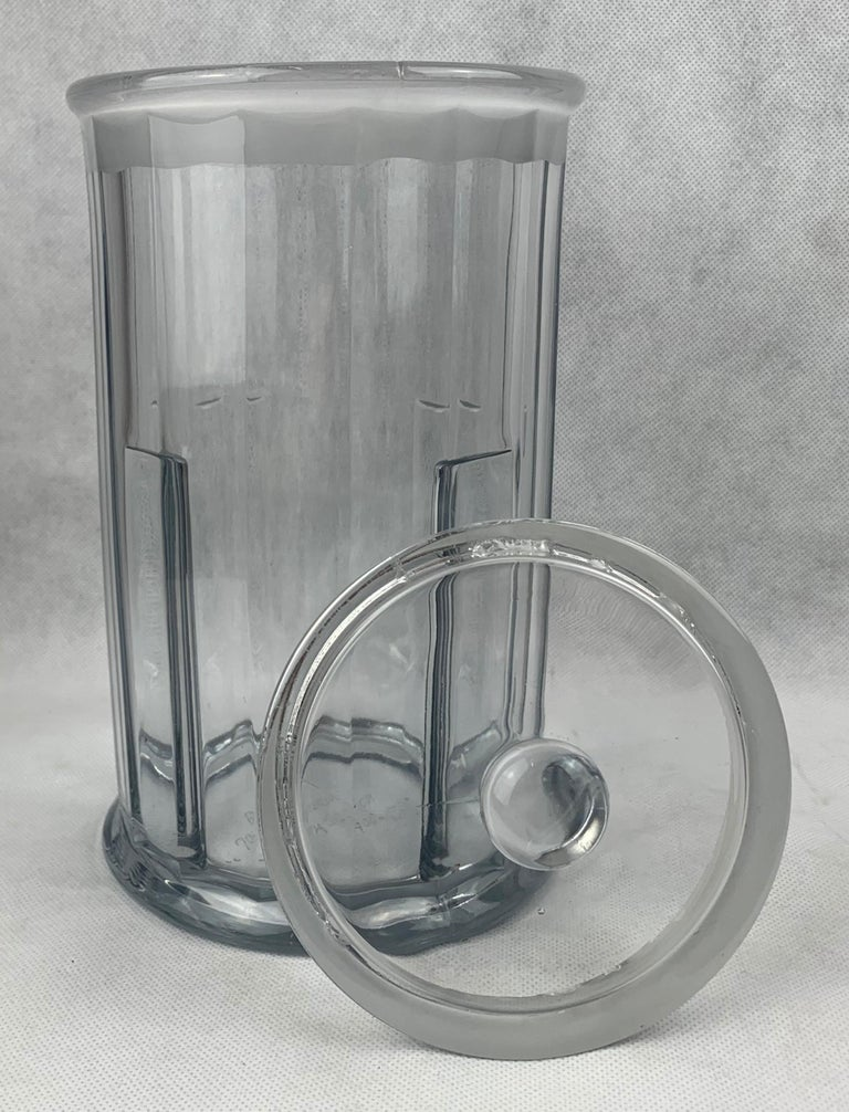 American Classical  Apothecary Jar with Cover made for John Hood Co., Boston by Heisey Glass For Sale