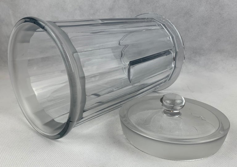 American  Apothecary Jar with Cover made for John Hood Co., Boston by Heisey Glass For Sale